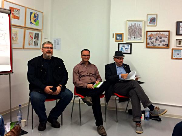 Thomas Naedler, Oliver Hübner, Andersen Storm auf der Buchpremiere in Schwerin