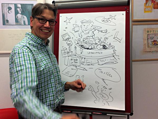 Grafik von Gerald Hross zu einer Geschichte von Villa Später